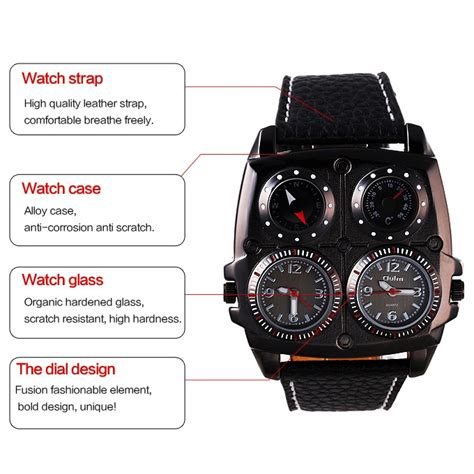 Jam Tangan Quartz Black oulm jam tangan analog dual compass quartz 1140 black