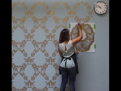Wall Stencils For Bedroom How To Stencil A Feature Wall In Only An Hour Youtube