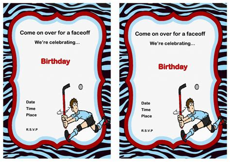 printable birthday cards hockey hockey birthday invitations birthday printable