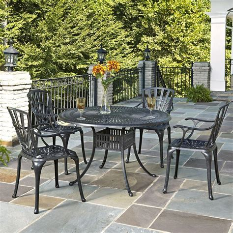 Aluminum Patio Dining Set Home Styles Largo 48 In Cast Aluminum Charcoal Outdoor 5 Patio Dining Set 5560 328 The