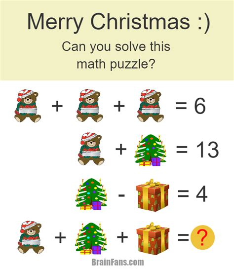 brain teaser number and math puzzle christmas math