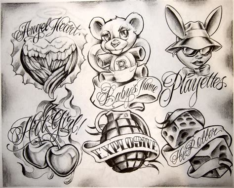 tattoo flash drawings boog cartoon gangster chicano tattoo mister flash book on