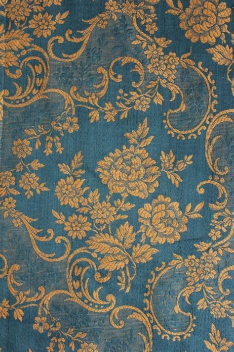 antique jacquard damask blue rococo french curtain