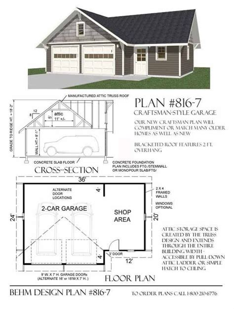 garage plans with shop craftsman style 2 car garage with shop plan 816 7 by behm
