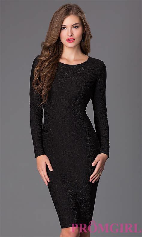 Long Sleeve Knee Length Black Dress Promgirl Black Sleeve