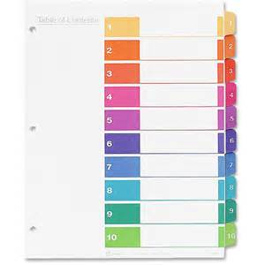 Avery Index Tabs Template by Avery Ready Index Table Of Contents Reference Divider