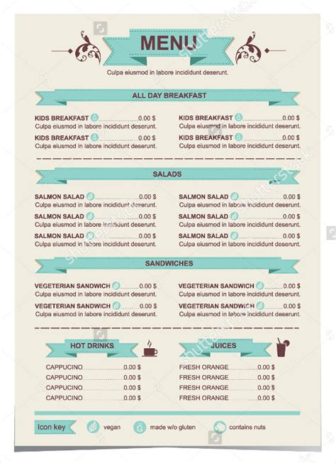 30 lunch menu templates free sle exle format