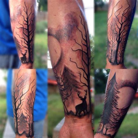 forest sleeve tattoos forest trees deer arm half sleeve scenery