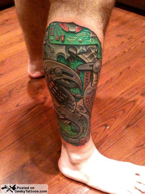 quarter leg sleeve tattoo geekmech008 geeky tattoos