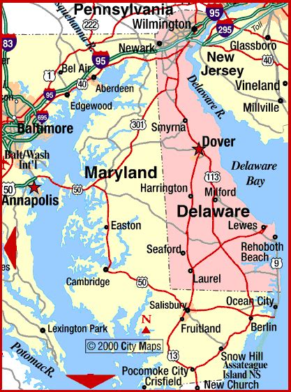 printable road map of delaware road map of maryland and delaware dover maryland