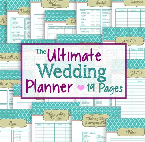 download printable wedding planner wedding planner 19 printable pages instant downloadable