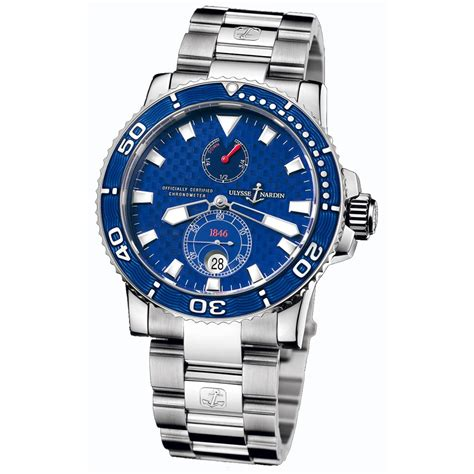 Ulysse Nardin Marine Diver Silver Black Leather For Automatic 260 32 8m ulysse nardin maxi marine diver blue mens automatic