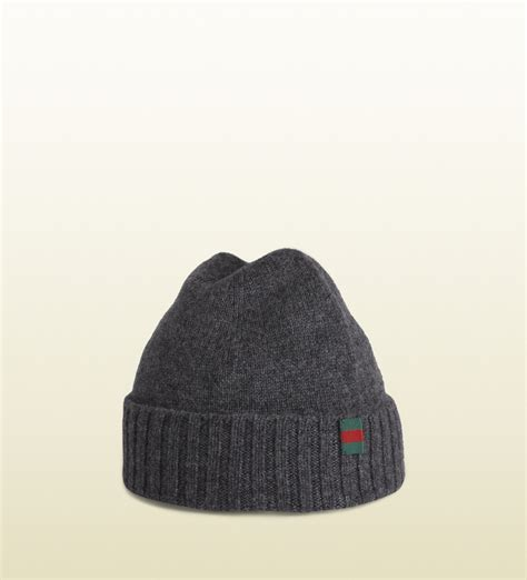 gucci knit hat gucci knit hat with flag web detail in gray lyst