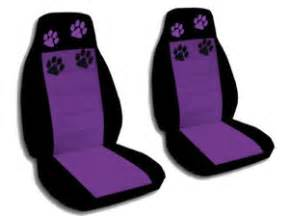 Car Seat Covers Paw Print 2 Car Seat Covers Black Purple W Paw Prints Ebay