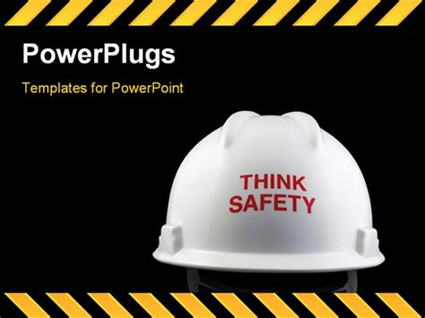 free safety powerpoint templates think safety message on the back of a hat powerpoint