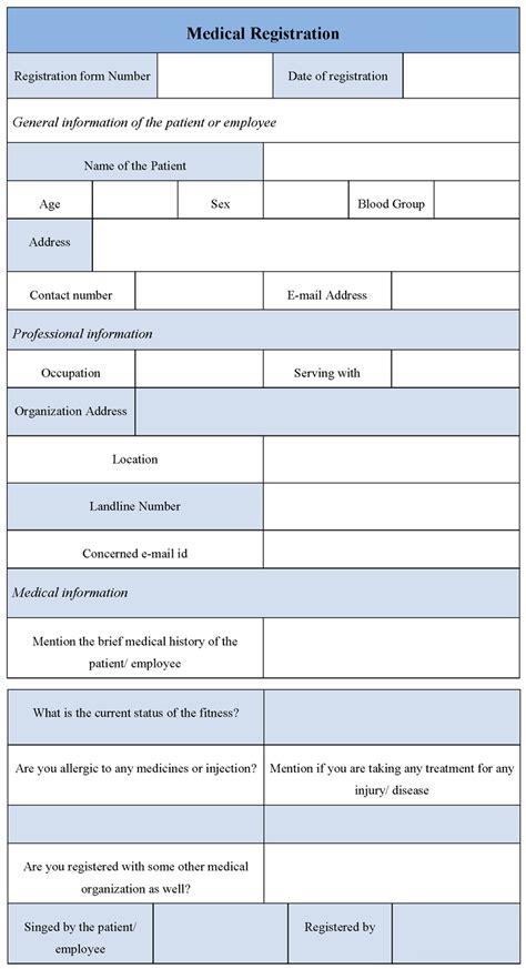 Sample Form medical registration form sample forms