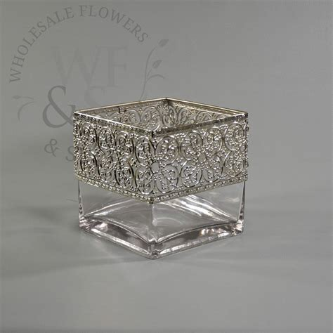 Silver Square Vases by 6 Quot Square Glass Cube Vase With Metallic Silver Band