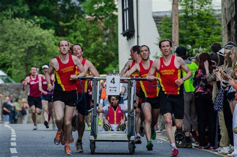 bed race harriers triumph at knaresborough bed race