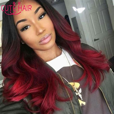 sew in bang straight hair styles red brazilian image gallery ombre red hair sew