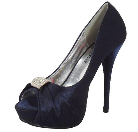 womens navy blue bridal peeptoe platform prom