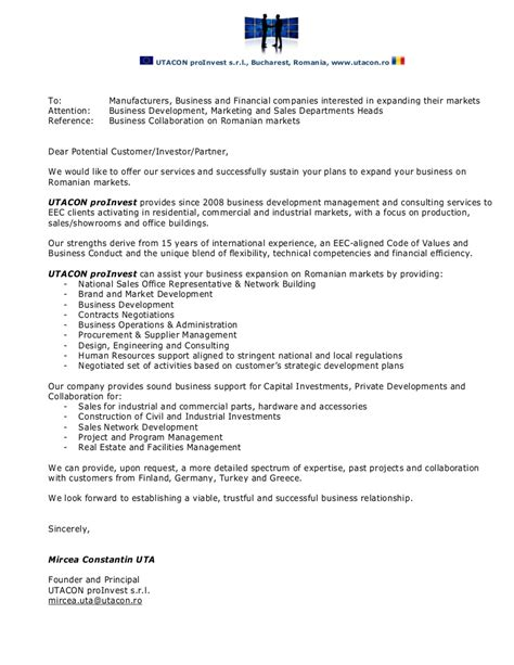 Utacon Proinvest Business Collaboration Letter Business Collaboration Letter Template