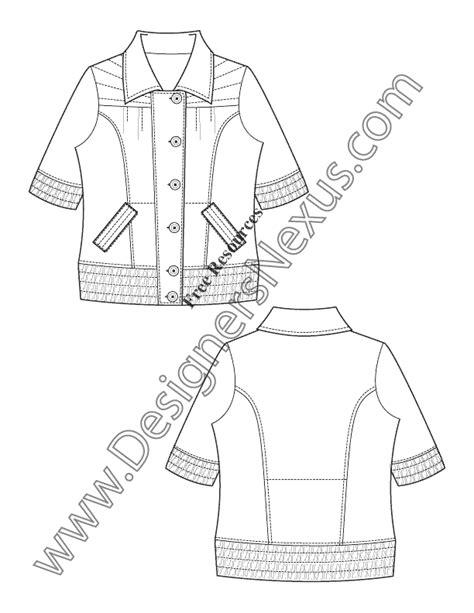 flat sketch template smocked hem cuff jacket v18 free flat sketch template