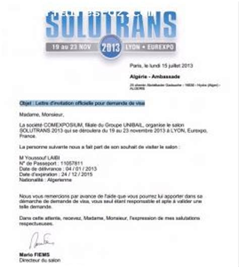 Exemple De Lettre D Invitation Commerciale Modele Lettre Invitation Visa Affaire Document