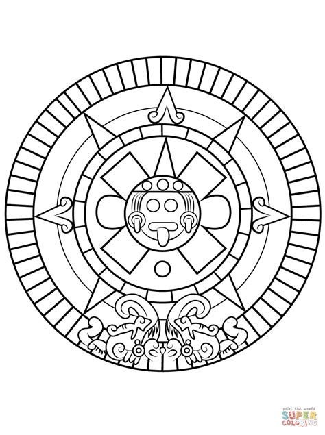 Aztec Sun Stone Coloring Page Free Printable Coloring Pages Aztec Coloring Pages