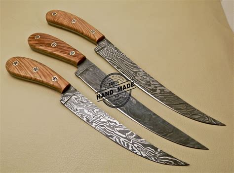 damascus kitchen knives lot of 3 pcs damascus kitchen knives custom handmade