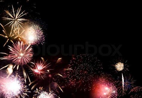 beautiful fireworks plenty room text dark night sky stock photo colourbox