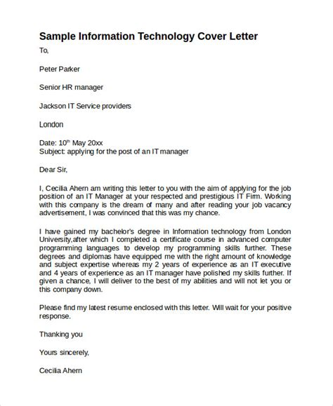 cover letter info sle information technology cover letter template 8