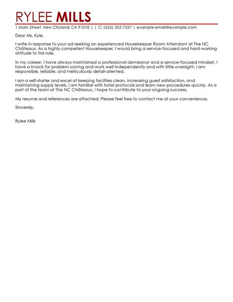 Cover Letter For Housekeeping Leading Professional Housekeeper Room Attendant Cover Letter Exles Resources