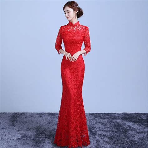 Dress Of The Day Golden Lace Qi Pao by Aliexpress Buy Lace Cheongsam
