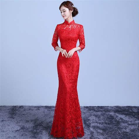traditional chinese cheongsam dresses aliexpress com buy red lace long cheongsam chinese