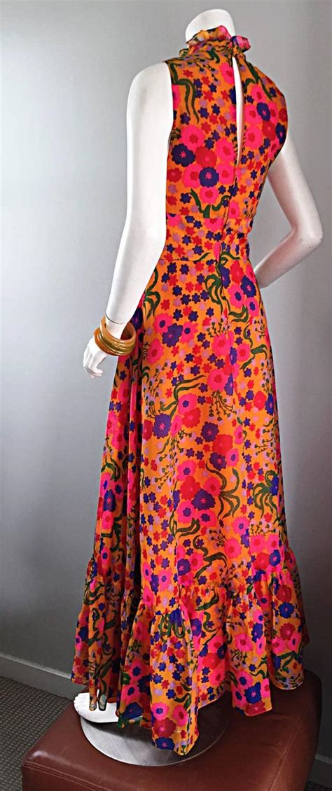 Tripy Ruffle 1 amazing 1970s 70s colorful psychedelic chiffon floral ruffle vintage maxi dress at 1stdibs