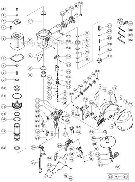 hitachi nail gun parts diagram hitachi nv75ag parts list and diagram ereplacementparts