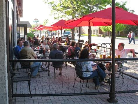 outdoor patio dining is pleasant on a