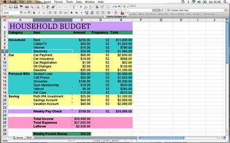 spreadsheet template for household budgeting natural
