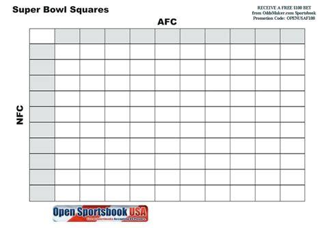 Printable Bowl Squares 2017