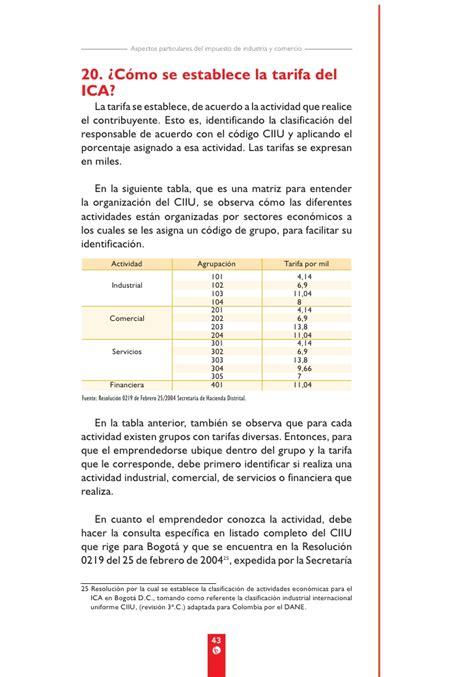 tabla de tarifas ica 2016 tabla de tarifas del impuesto de ica 2016 tabla de tarifas