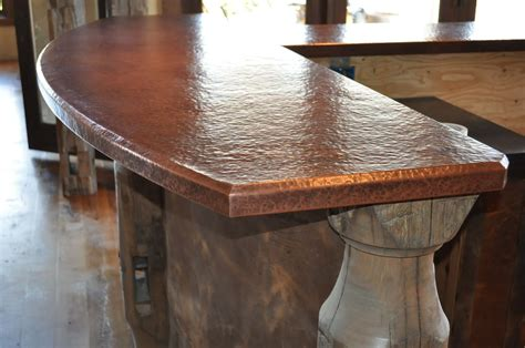 Hammered Copper Bar Top by Custom Copper Counter Tops