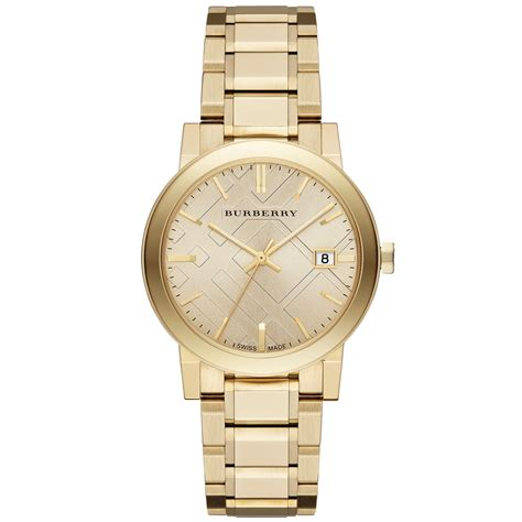 burberry unisex swiss the city goldtone stainless steel