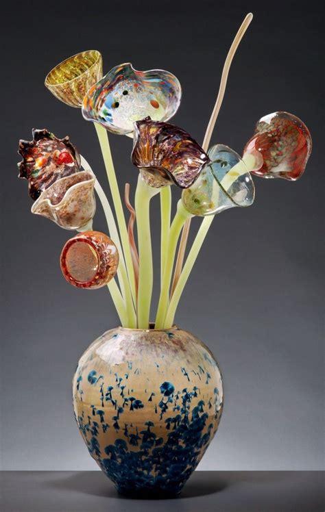 Glass Vase Flower Arrangement by Custom Glass Flowers Arrangement In Glaze Vase By