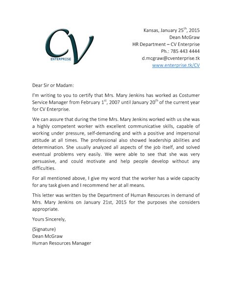 Customer Letter Of Recommendation Recommendation Letter For Customer Service 2 Grow