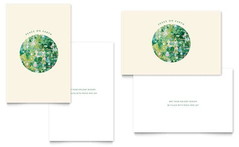 greeting card layout templates peace on earth greeting card template design