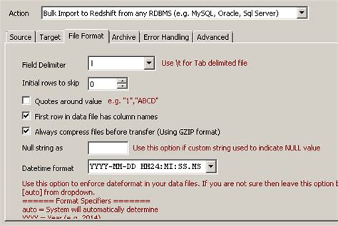 mysql date format load mysql to redshift data load using ssis zappysys