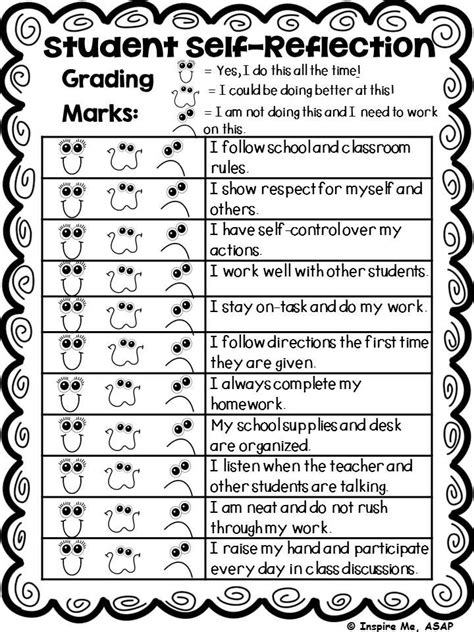 student behavior self reflection 30 best report card ideas images on pinterest report