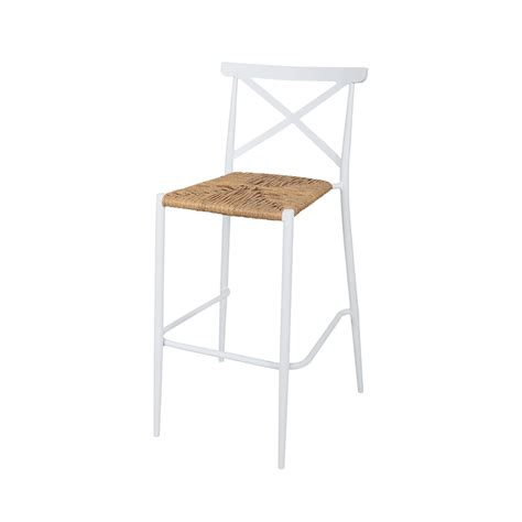Rattan Seat Bar Stools by White Aluminium Outdoor Bar Stool With Rattan Seat