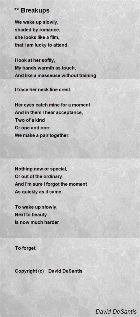 tion poem by david desantis poem breakups poem by david desantis poem Addi