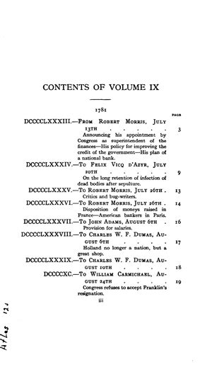 The Works of Benjamin Franklin, Vol. IX Letters and Misc